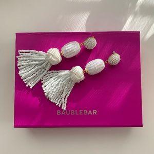 White BaubleBar Tassel Earrings